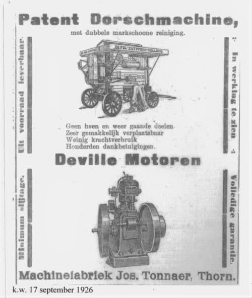 Historie Patent Dorschmachine Deville Motoren Tonnaer Mengsystemen